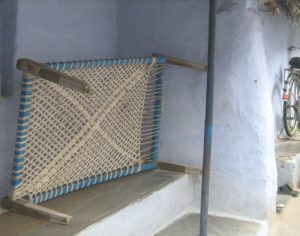 Traditional cots made with rope in India are known as khats or khatiyas in Hindi