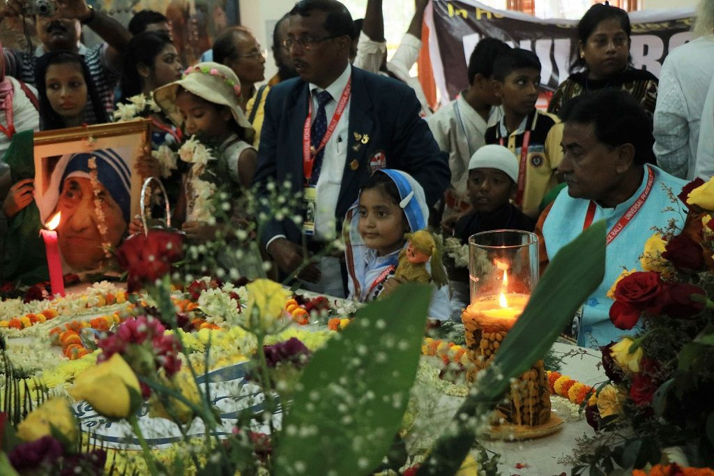 Gathering at the Mother House on Monday morning to commemorate the sainthood of Mother Teresa