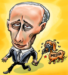 A cartoon that depicts the power dynamics in controlling the media