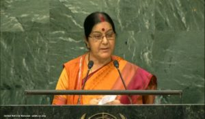 Sushma Swaraj delivering her speech at UN General Assembly