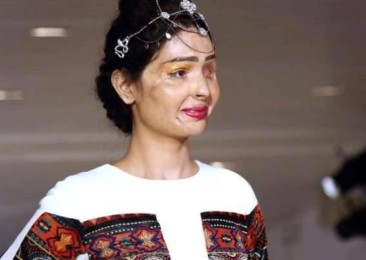 Indian acid attack survivors walk the ramps of NYFW and LFW