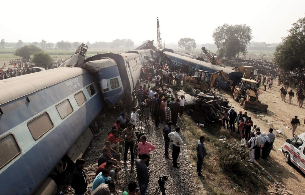 Rescue operations underway at the site of the train derailment in Pukhrayan, south of Kanpur