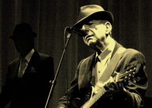 Leonard Cohen in one of his many live concerts.