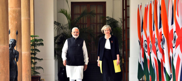 Narendra Modi with the Prime Minister of United Kingdom, Theresa May, at Hyderabad House, in New Delhi