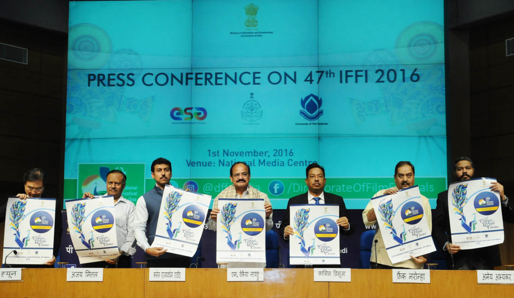 The Union Minister for Urban Development, Housing & Urban Poverty Alleviation and Information & Broadcasting, Shri M. Venkaiah Naidu releasing the Poster for the IFFI - 2016, at the press conference on 47th International Film Festival of India (IFFI), in New Delhi on November 01, 2016. The Minister of State for Information & Broadcasting, Col. Rajyavardhan Singh Rathore, the Deputy Chief Minister of Goa, Shri Francis Dsouza, the Secretary, Ministry of Information & Broadcasting, Shri Ajay Mittal and the Director General (M&C), Press Information Bureau, Shri A.P. Frank Noronha and other dignitaries are also seen.