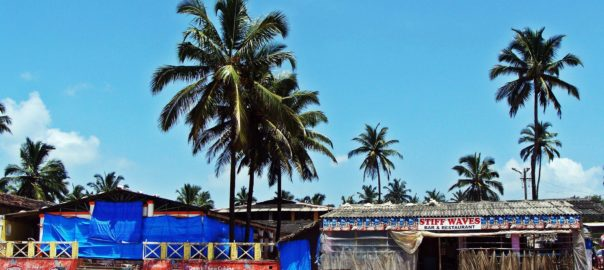 The Bogmalo beach in Goa. Beaches in Goa are filled with shacks as restaurants and places to stay.