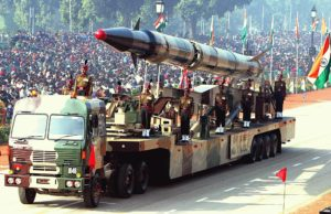 Agni II, an earlier missile from the series on display at the The Republic Day Parade. Picture: Agencia Brasil