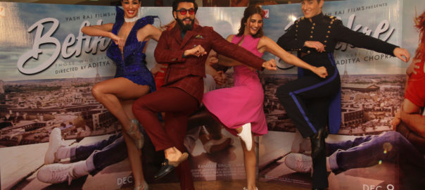 Ranveer Singh and Vaani Kapoor with the Lido Dancers at Yash Raj Studios in Mumbai during the interview