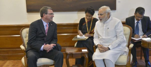 Outgoing US Secretary of Defense Ashton Carter with Indian Prime minister Narendra Modi