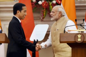 Indian Prime Minister Narendra Modi and Indonesian President Joko Widodo made a joint press statement at Hyderabad House in New Delhi on Monday. Picture Credit: PTI Photo by Subhav Shukla
