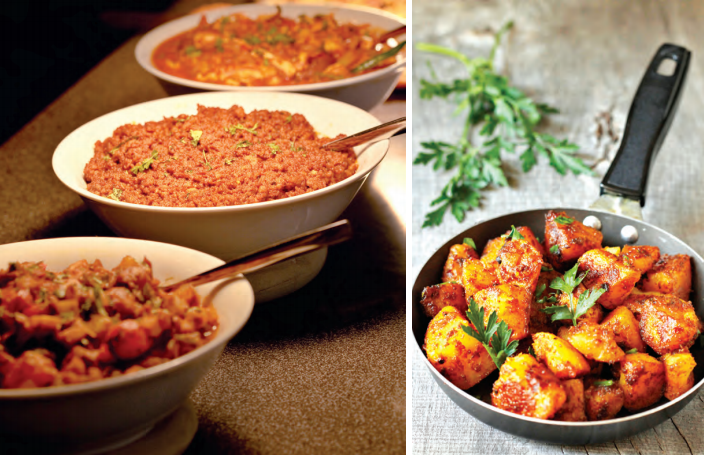 From left to right: Curry-based vegetarian Karnataka dishes; Quick & Easy Jeera Aloo