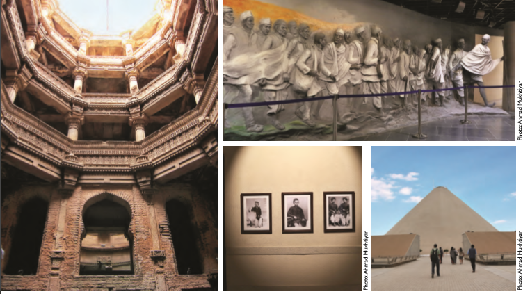 Clockwise from left to right: Adalaj ki vav , a five-storey stepwell; Mahatma leading the Satyagraha Movement; Dandi Kutir built in the shape of a salt dune; frames capturing Mahatma's childhood