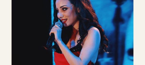 Sherazade, the vocalist for the ensemble Sherazade and Lavion Rose, in performance in Mumbai