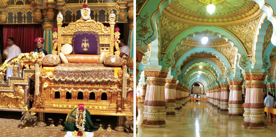 (From left to right): The Mysuru Palace is richly illuminated on special occasions; golden howdah or the golden chariot is one of the major attractions in the Palace; the exquisite galleries of the Palace