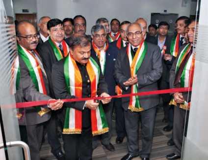 Guruprasad Mohapatra, Chairman, AAI (centre) inaugurating Central Command Centre, Air Traffic Flow Management (CATFM) in the presence of AAI's Board Members (from right) A K Dutta, Member (ANS), S Raheja, Member (Planning), I N Murthy, Member (Operations) (left) and other senior officers of AAI