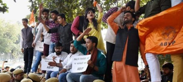At a 'Tiranga Rally' where ABVP students march with the saffron flag. Photo: PTI