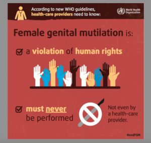 An infographic by the UN advises on FGM/C