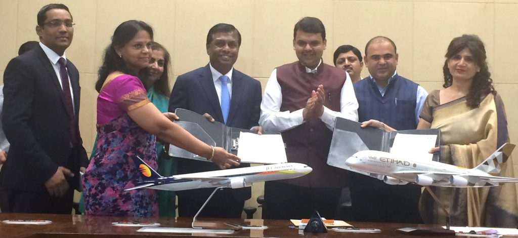Chief Minister of Maharashtra Devendra Fadnavis presided over the signing of the state's new tourism agreement with Etihad Airways and partner Jet Airways
