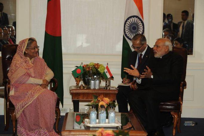 Prime Minister Narendra Modi visited the Palam airport in New Delhi to receive Bangladeshi Prime Minister Sheikh Hasina