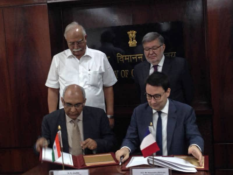 The MoU was signed in the presence of Minister of Civil Aviation, P Ashok Gajapathi Raju and H. E. Alain Vidalies, French Minister of State for Transport, Marine Affairs and Fisheries
