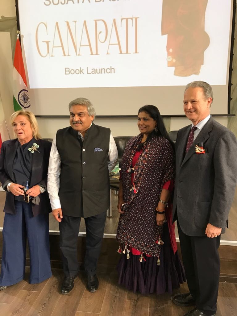 Sujata Bajaj with Indian Ambassador Anil Wadhwa and professor Francesco Buranelli, Inspector of the Pontifical Commission for Sacred Archeology of Vatican and Secretary of Commission for Cultural Heritage of the Church