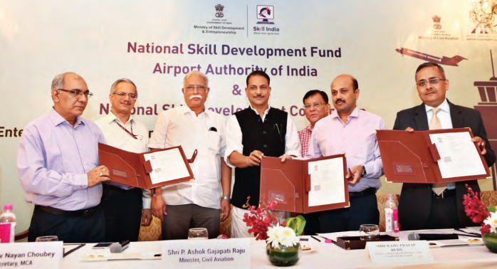 Signing of MoU on Skill Development by A K Dutta, Member(ANS), AAI, Jayant Krishna, the then CEO, NSDC and Rajesh Agrawal, Joint Secretary, Ministry of Skill Development & Entrepreneurship (MoSD&E) in the presence of Ashok Gajpati Raju, Union Minister of Civil Aviation; Rajiv Pratap Rudy, Union Minister of State - Independent Charge, (MoSD&E) and R N Choubey, Secretary, Ministry of Civil Aviation