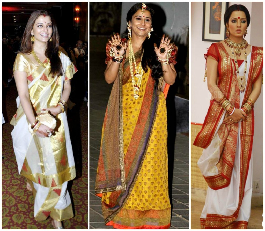 Various famous Bollywood personalities adorning Bengali outfits