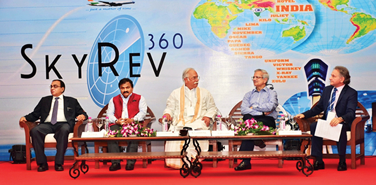 (L to R) S Suresh, Member (Finance), AAI; Dr. Guruprasad Mohapatra, IAS, Chairman, AAI; Ashok Gajapathi Raju, Minister of Civil Aviation; R. N. Choubey, IAS, Secretary, Civil Aviation; and Conrad Clifford, Regional Vice President, Asia Pacific, IATA at the global launch of SkyRev360 Workshop in Goa