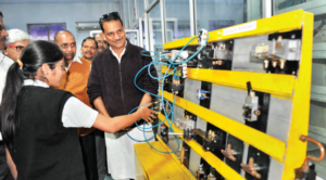 Minister Rajiv Pratap Rudy at an Industrial Training Institute in Jamshedpur, Jharkhand (East India)