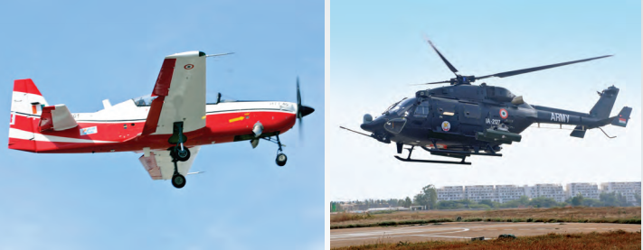 (From left to right) HAL HTT-40, a turboprop trainer aircraft; HAL Rudra, a weaponised advanced light helicopter