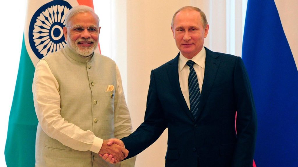 Prime Minister Narendra Modi and Russian President Vladimir Putin at St. Petersburg International Economic Forum