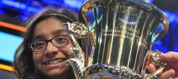 Ananya Vinay, 12, from Fresno, Calif., holds her trophy after being declared the winner of the 90th Scripps National Spelling Bee, in Oxon Hill, Md., Thursday, June 1, 2017. (AP Photo/Manuel Balce Ceneta)
