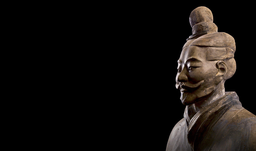 A Chinese warrior carved out of the special clay