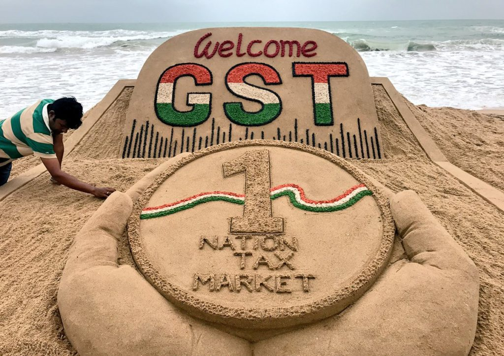 Sudarsan Pattnaik's sand installation at Puri Beach, Odisha to celebrate GST