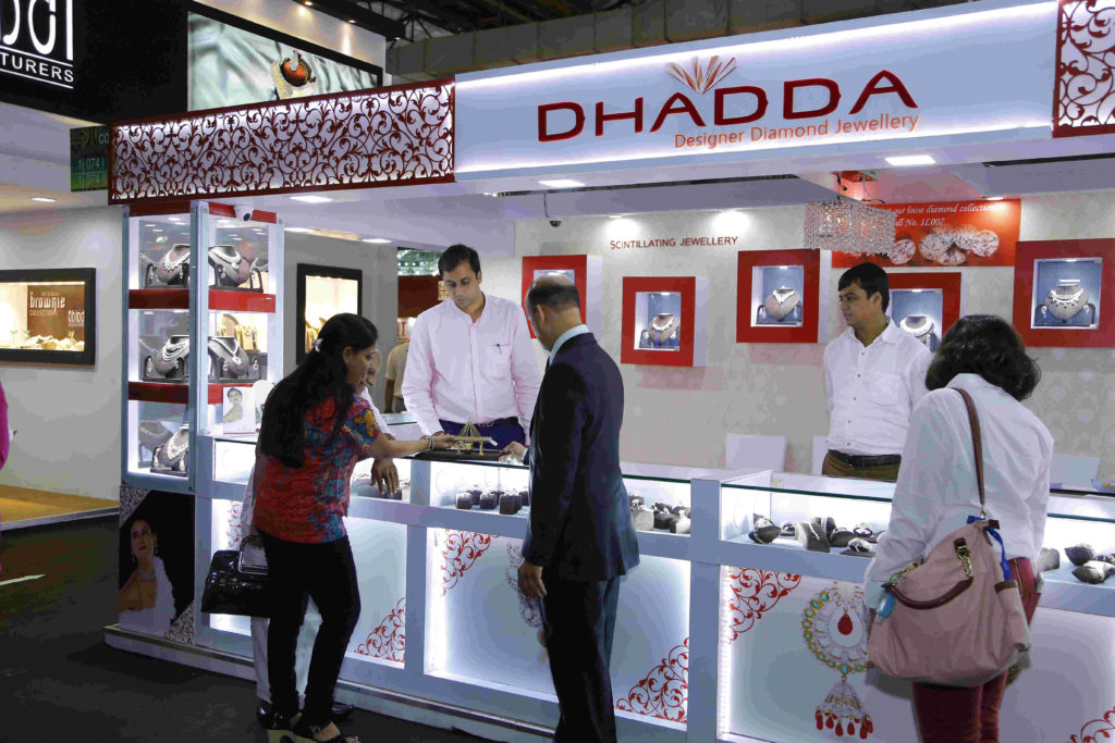 A booth at the jewellery trade fair attended by visitors