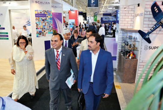 From Left to Right: A session on Skilling in Defence & Aviation in progress on the sidelines of the Paris Air Show; Airbus A380, the world's largest passenger aircraft, takes off as part of the flight display at the Air Show; Members of the Indian delegation visiting the Air Show