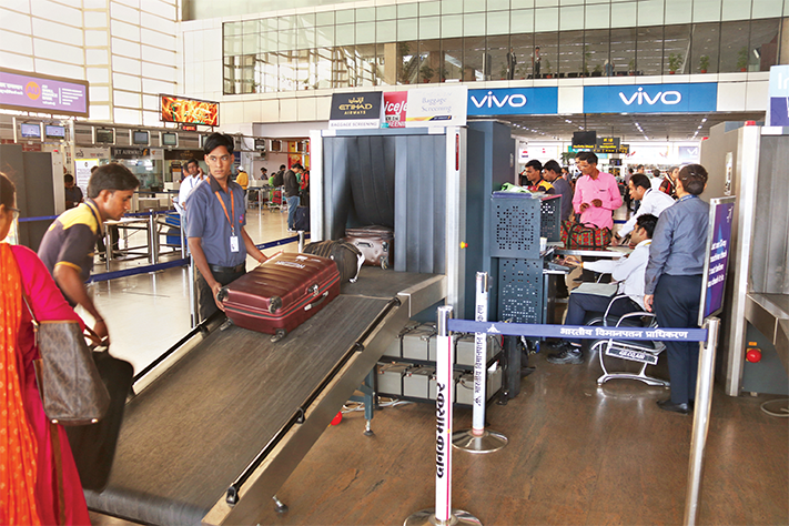 Pre-check-in baggage X-Ray belt at Jaipur Airport
