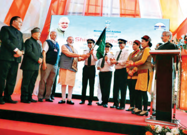 Prime Minister Narendra Modi flagging off the first UDAN flight under RCS in the Shimla-Delhi sector