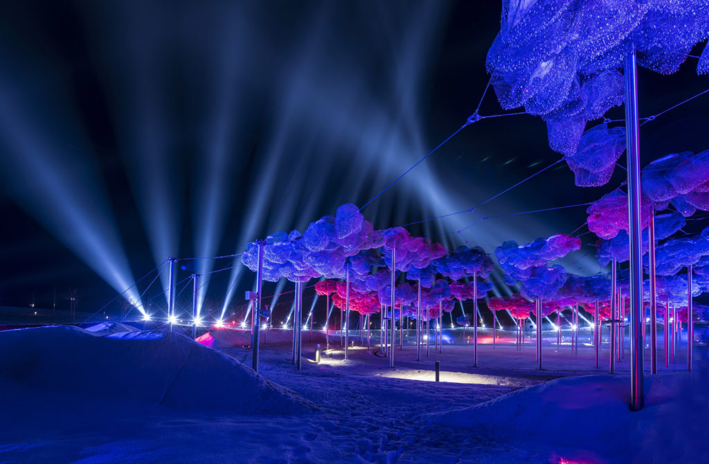 Winter at Swarovski Kristallwelten with laser shows