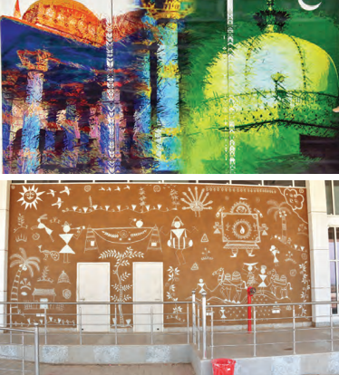 Left: Kishangarh Airport; Top: Artwork based on Ganga Jamna Tehzeeb; Bottom: Other artwork at the airpor