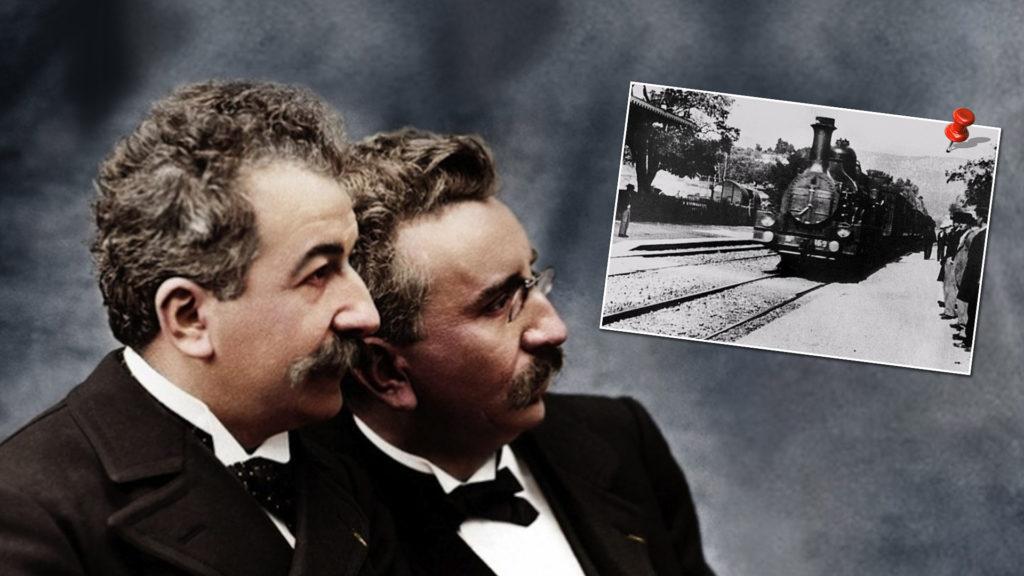 Les frères Louis et Auguste Lumière ( en cartouche :insérée: une cliché tiré photo du film « L'Arrivé d'un train en gare de La Ciotat »)