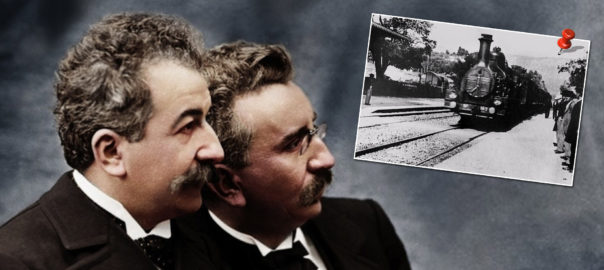 The iconic image of the Lumiere Brothers (inset: a still from 'The Arrival of the Train'