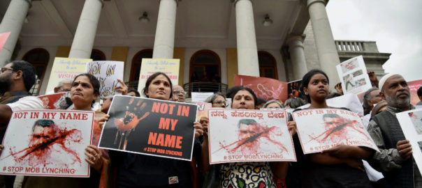 Not In My Name protest in the south Indian city of Bengaluru. Photo: PTI