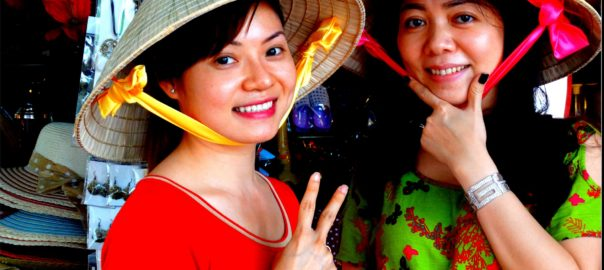 Ladies in the Tien Giang region with traditional Vietnamese Hats (P.C: mymotionpicture)