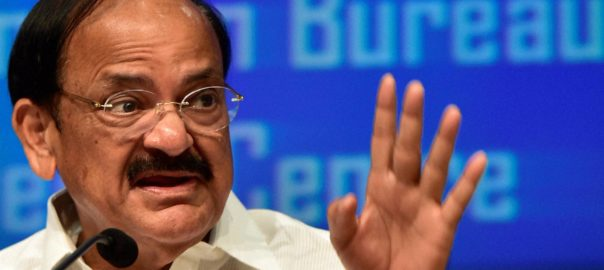 Venkaiah Naidu is contesting the vice-presidential polls against UPA candidate Gopal Gandhi. Source: PTI
