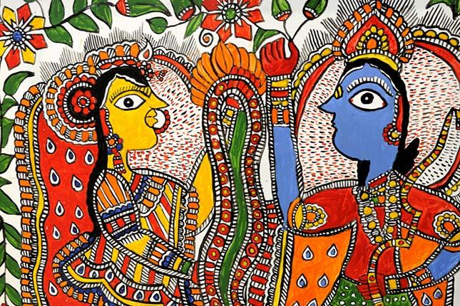 Une scène mythologique représentée dans la peinture « Madhubani » (Image : Craftsvilla)