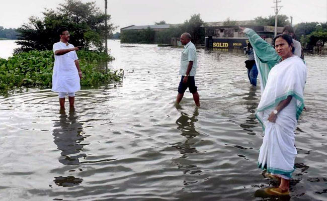 Chief Minister Mamata Banerjee visited flood-hit North Bengal to meet the victims