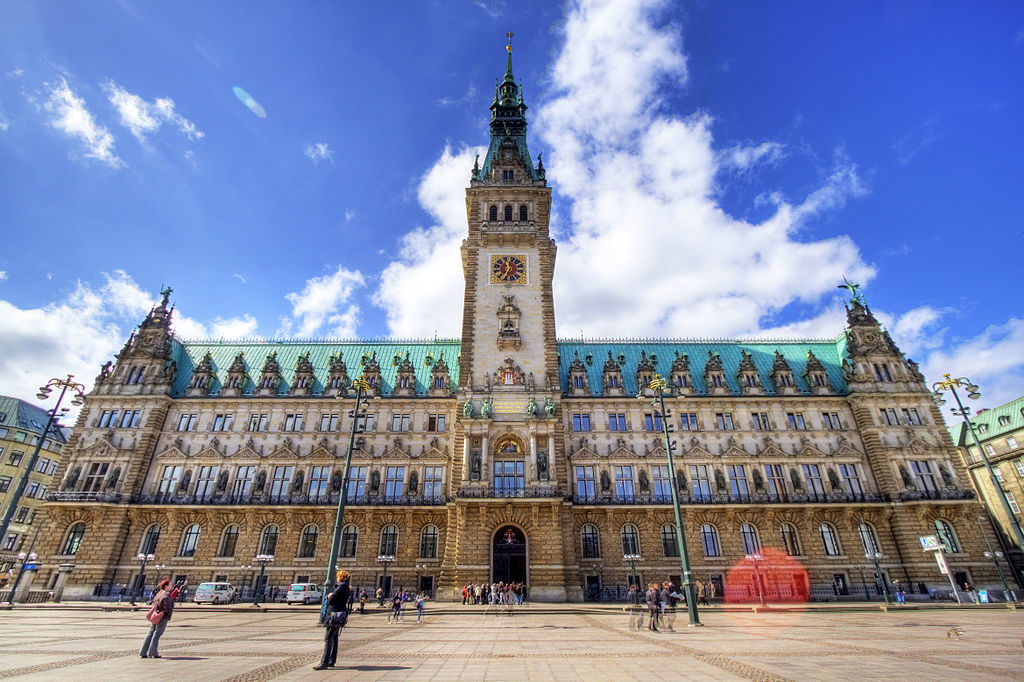 The city hall of Hamburg, Germany, a town known for its lakes, canals, museums