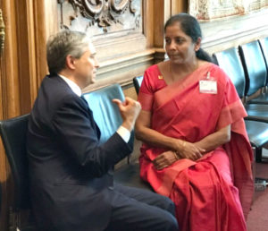 Nirmala Sitharaman meeting the US Trade Representative, on the sidelines of the WTO ministerial meet, in Paris earlier this year. Photo:PIB