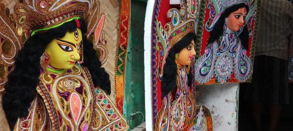 Decorative Durga at Kumartuli, the potter's quarters.